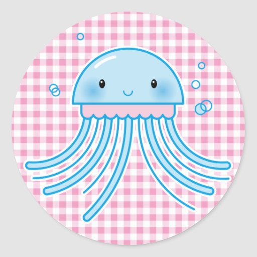 Kawaii jellyfish round sticker