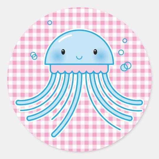 Kawaii jellyfish round sticker