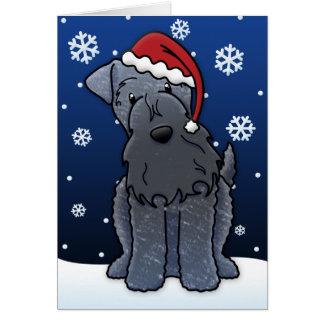 Kawaii Kerry Blue Terrier Christmas Card
