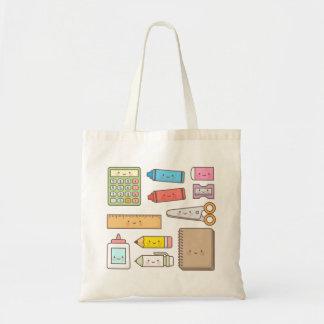 Kawaii Kids Back to School Supplies Budget Tote Bag