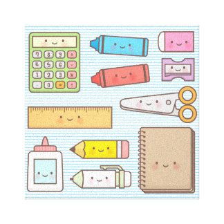 Kawaii Kids Back to School Supplies Wall Decor Stretched Canvas Print