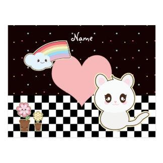 Kawaii kitten and rainbow so cute postcard