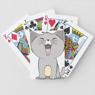 Kawaii kitten grey bicycle playing cards