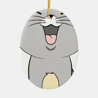 Kawaii kitten grey ceramic oval decoration