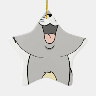 Kawaii kitten grey ceramic star decoration