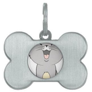 Kawaii kitten grey pet name tag