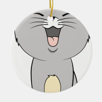 Kawaii kitten grey round ceramic decoration