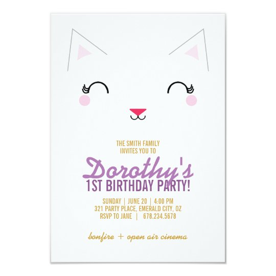 kawaii kitty CAT BIRTHDAY party invitation PURPLE