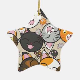 Kawaii Kitty Ceramic Ornament (Multiple Shapes)