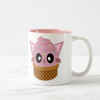 kawaii kitty cone ice cream cat meow coffee mugs