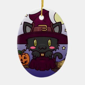 Kawaii Kitty (Witch) Ceramic Oval Decoration