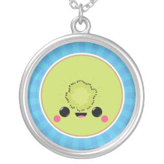 Kawaii Kiwi on Blue Starburst Necklace