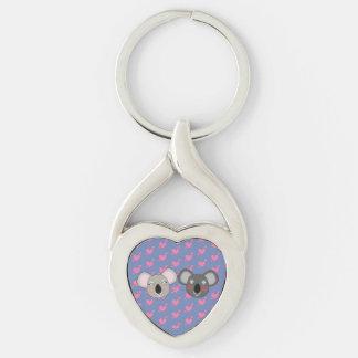 Kawaii koala love heart shape keychain Silver-Colored twisted heart key ring