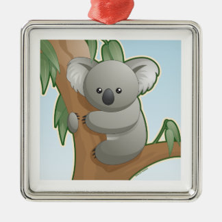 Kawaii Koala Silver-Colored Square Decoration