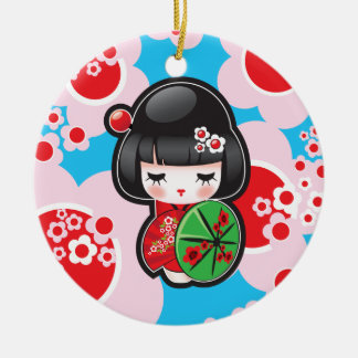 Kawaii Kokeshi Doll Christmas Ornament