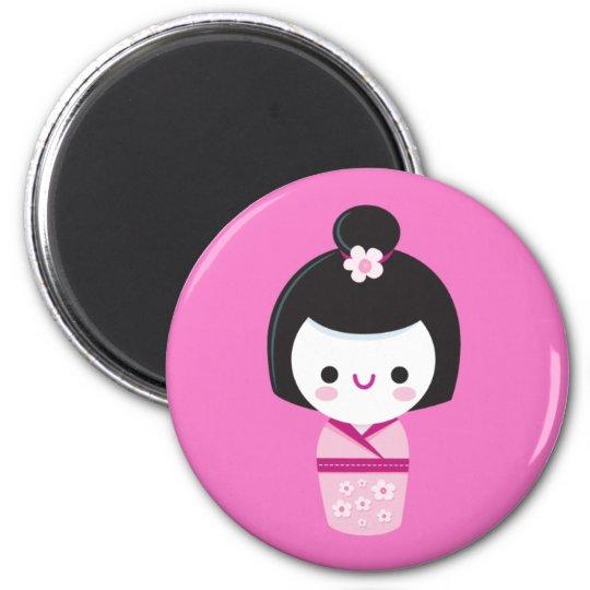 Kawaii Kokeshi - Pink Magnet