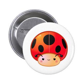 Kawaii Ladybug Mushroom 6 Cm Round Badge