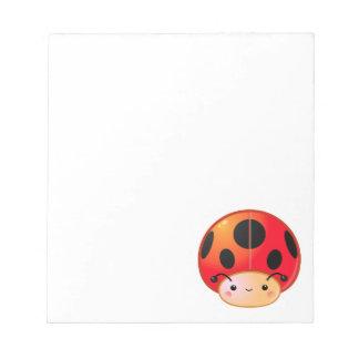 Kawaii Ladybug Mushroom Notepad