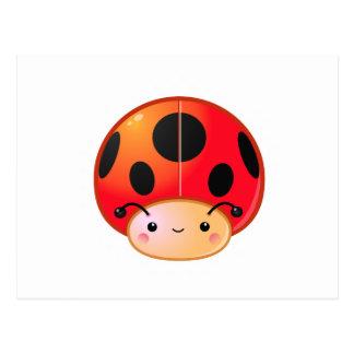 Kawaii Ladybug Mushroom Postcard