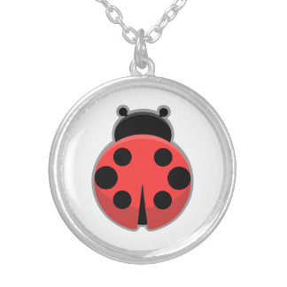 Kawaii Ladybug Round Pendant Necklace