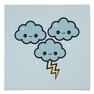 Kawaii Lightning Clouds Poster