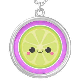 Kawaii Lime on Purple Starburst Pendant