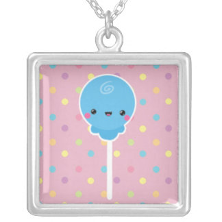 Kawaii Lollipop on Colorful Polka Dots Square Pendant Necklace