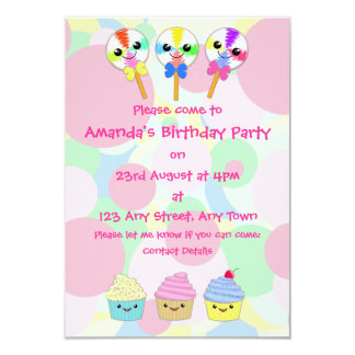 Kawaii Lolly Pops and Cupcakes Children's Party Card