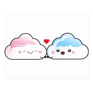 Kawaii Love Clouds Postcard