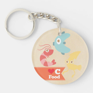 Kawaii Love for C Food (Seafood) Double-Sided Round Acrylic Key Ring