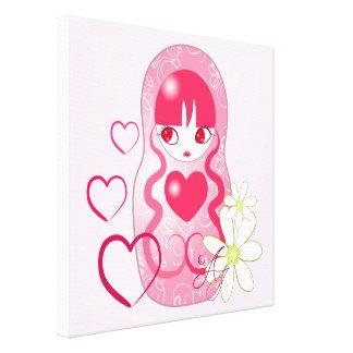Kawaii Love Matryoshka Canvas Print