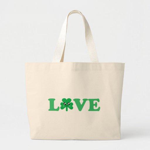 KAWAII LOVE SHAMROCK LUCKY IRISH JUMBO TOTE BAG