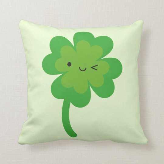 Kawaii Lucky Four Leaf Clover Reversible Throw Pillow
