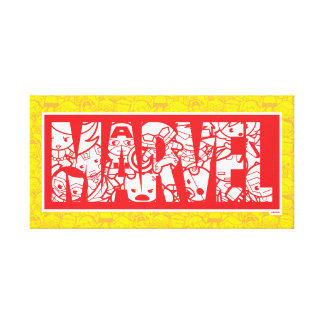Kawaii Marvel Logo With Super Hero Pattern Canvas Print