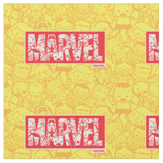 Kawaii Marvel Logo With Super Hero Pattern Fabric