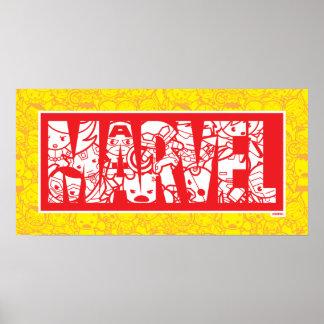 Kawaii Marvel Logo With Super Hero Pattern Poster