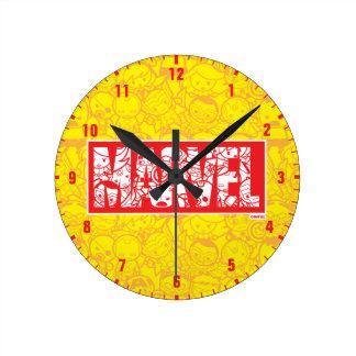 Kawaii Marvel Logo With Super Hero Pattern Round Clock
