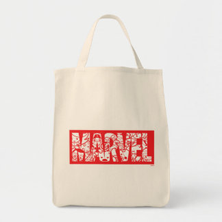 Kawaii Marvel Logo With Super Hero Pattern Tote Bag