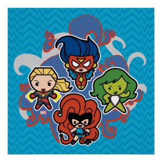 Kawaii Marvel Super Heroines Poster