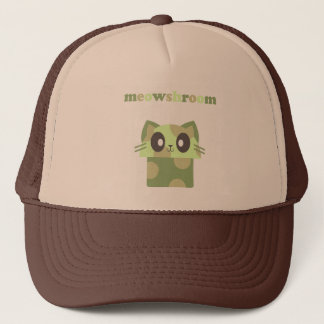 kawaii meowshroom kitty mushroom trucker hat
