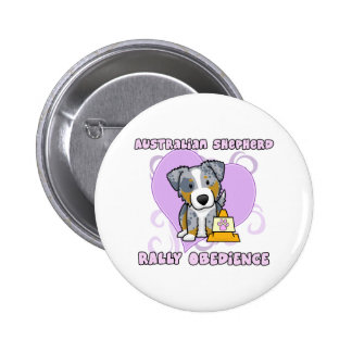 Kawaii Merle Australian Shepherd Rally Obedience 6 Cm Round Badge