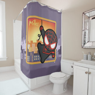 Kawaii Miles Morales City Sunset Shower Curtain