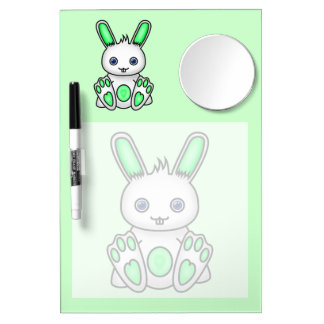 Kawaii Mint Green Bunny Dry Erase Board With Mirror