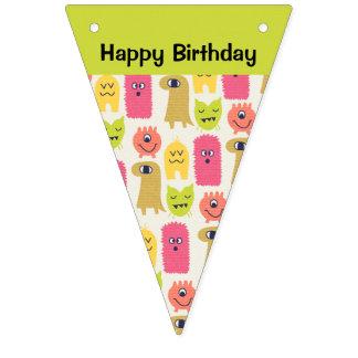 Kawaii Monster Birthday Bunting Banner