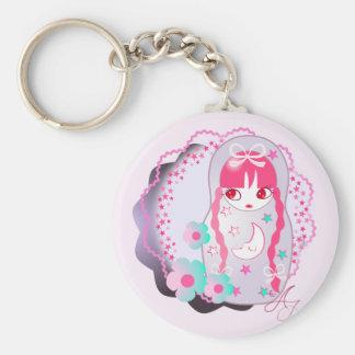 Kawaii Moon and Stars Matryoshka Basic Round Button Key Ring