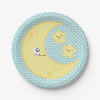 Kawaii Moon and Stars Paper Plates