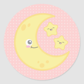 Kawaii Moon and Stars Stickers