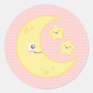 Kawaii Moon and Stars Stickers