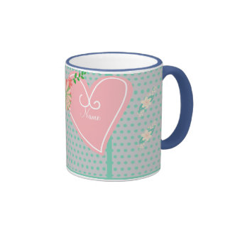 Kawaii Mug Pink hearts Mint polkadots personalized