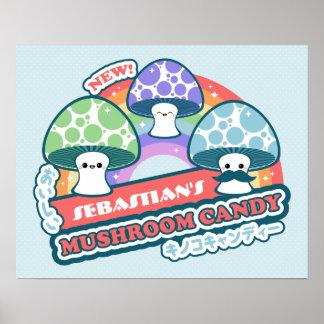 Kawaii Mushroom Candy Poster